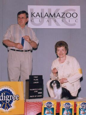 Shriley Gravning and Miki with Blue Ribbon at Kalamzoo Classic.